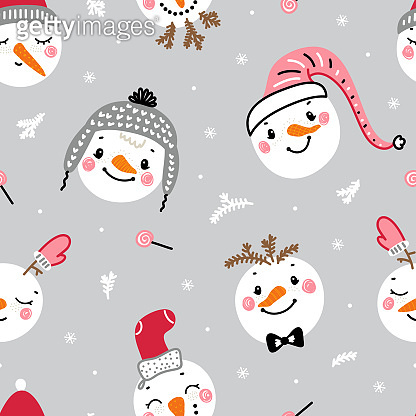 Cute snowman faces