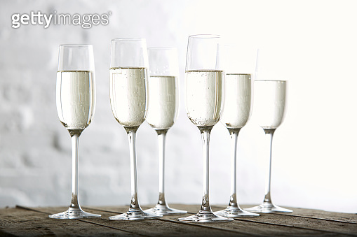 Champagne served on table