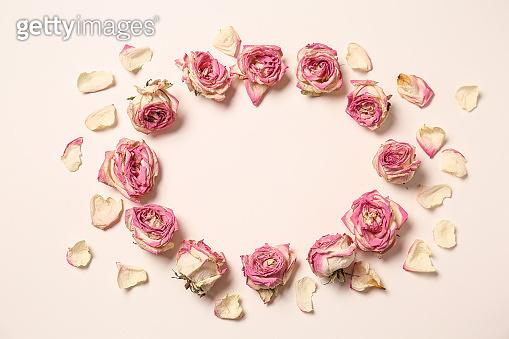 Frame made of dry rose