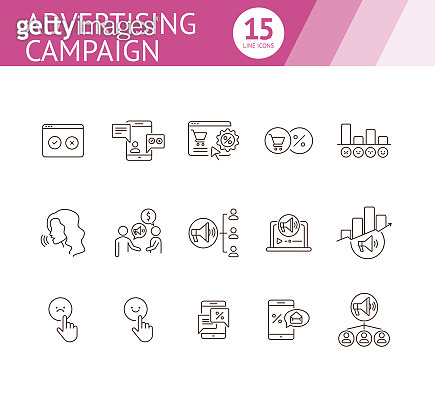 Set of 15 line icons