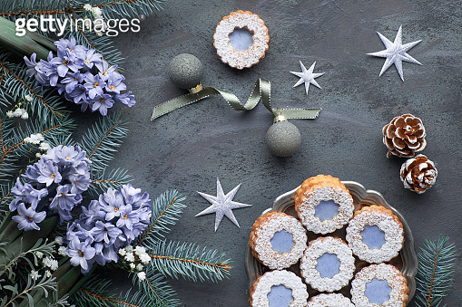 Cookies with winter background