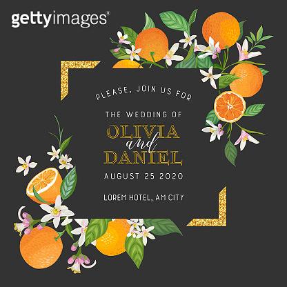 Botanical wedding invitation card