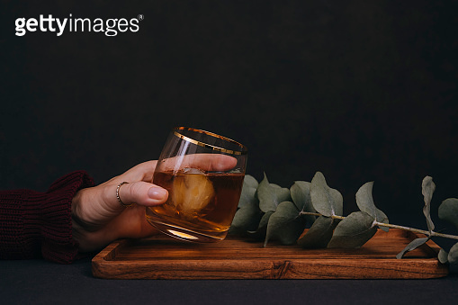 Glass of alcohol with tree
