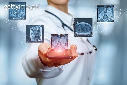 Doctor examines