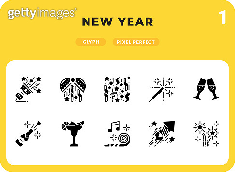 New Year Glyph Icons