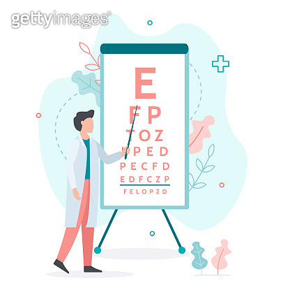 Medicine ophthalmology flat concept