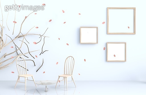 Room with blow leaves