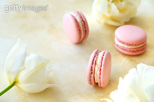Composition with colorful macaroon