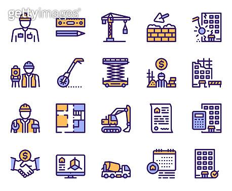 Purple linear icons set