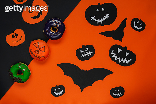 Donuts with Halloween decoration
