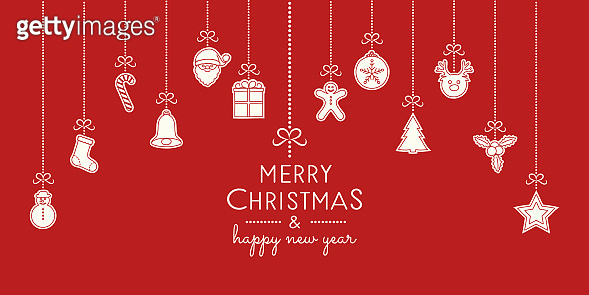 Christmas wishes with hanging decorations