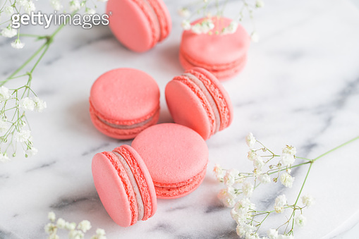 Coral color macarons