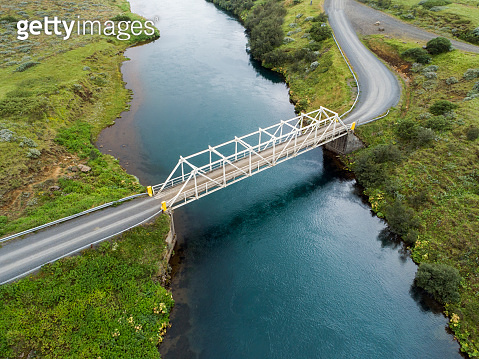 Old bridge over a river in the Icelandic countryside