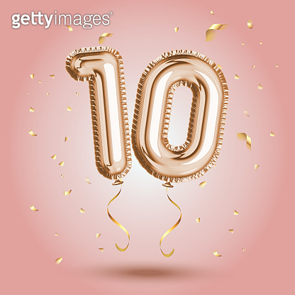 Anniversary number gold balloon