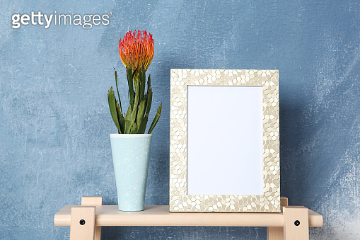 Frame and vase with flower