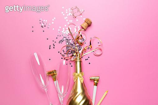 Golden champagne bottle