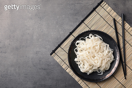Plate with rice noodles