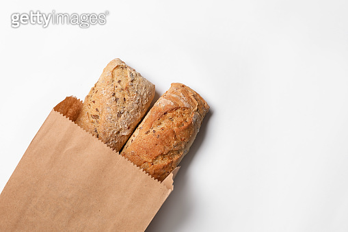 Paper bag with bread