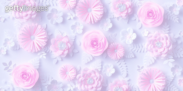 Pink flowers and paper cut leaves