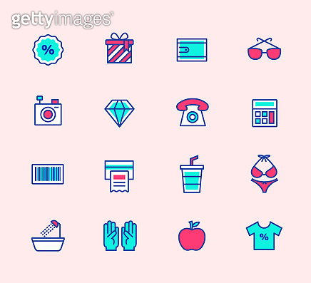 Neon color line icons