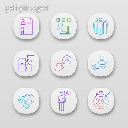 Gradient line icon set
