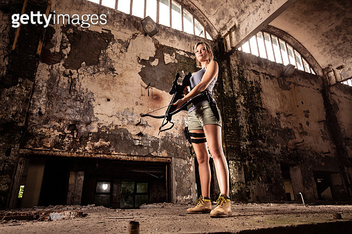 Woman playing war game
