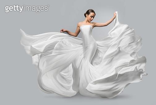 Waving white dress
