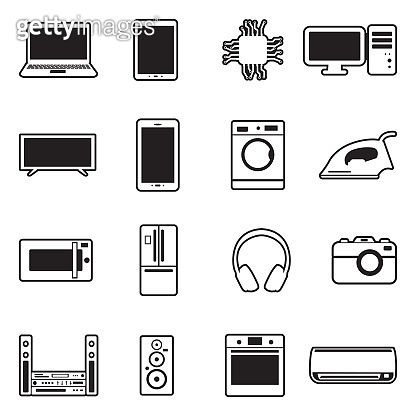 Line with fill icon set