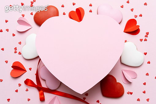 Gift box and red hearts
