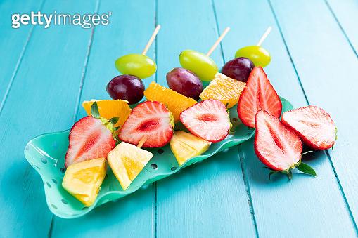 Fruit on wooden skewers