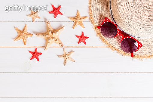 Summer background with straw hat