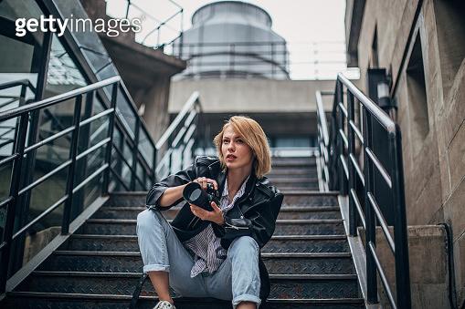 Beautiful female photographer
