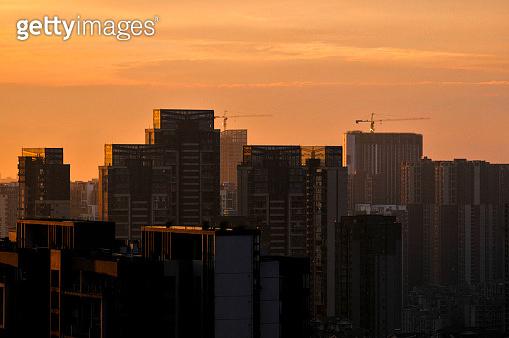 City skyline in sunrise