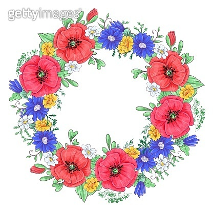 A wreath of red poppies and daisies