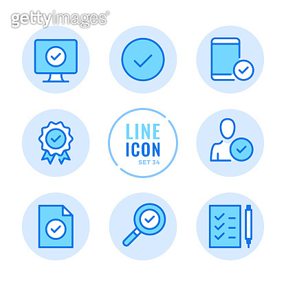 Set of 9 blue icons