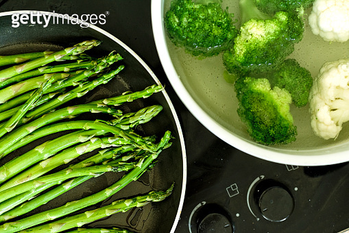 Asparagus in the pan