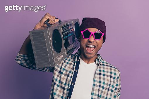Closeup photo portrait of positive glad optimistic handsome
