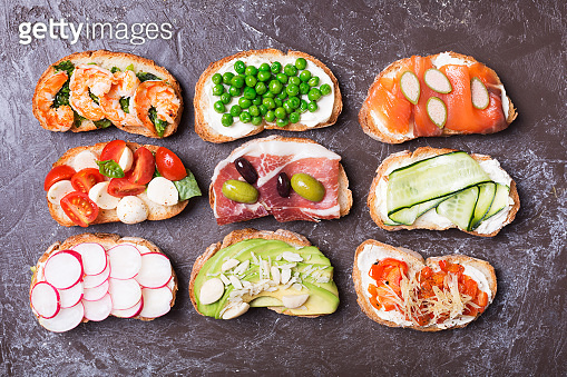 Set of colorful sandwiches