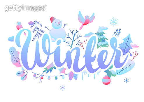 Background with winter items