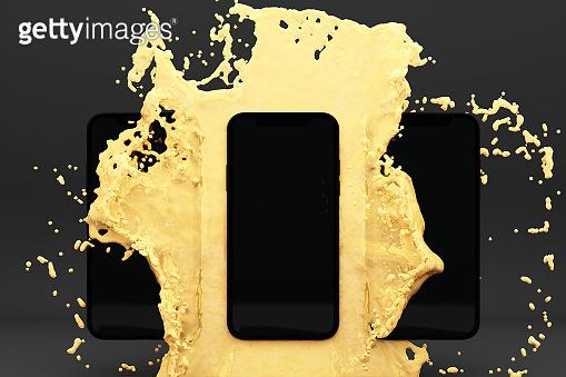 Smartphone splashing into water