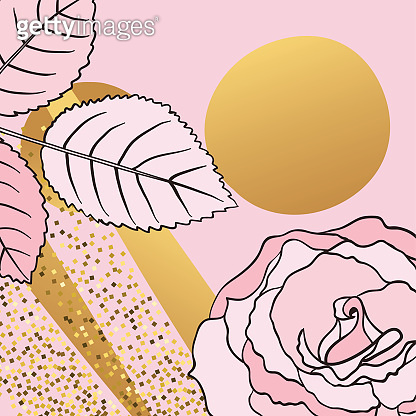 Cute Floral Card In Pink And Gold