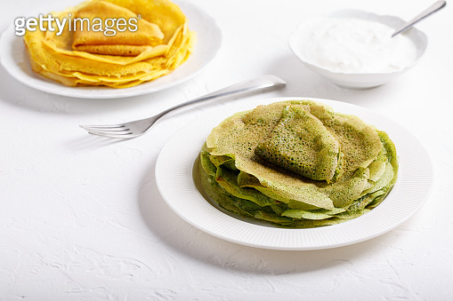 Yellow and green pancakes