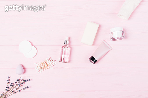 Flat lay beauty products