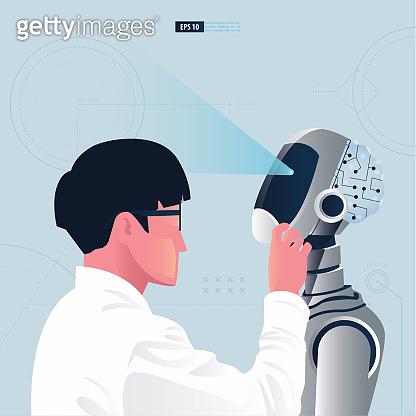 Futuristic humanoid business