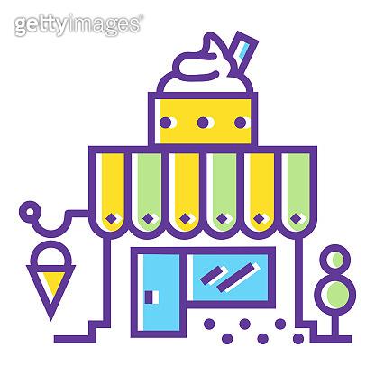 Shop building color line icon