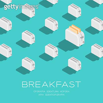 Breakfast 3D isometric pattern