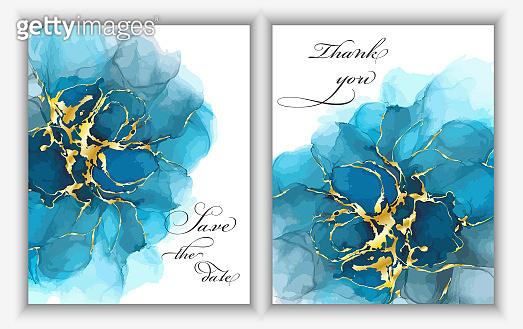 잉크로 만든 꽃 청첩장