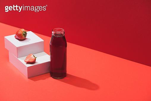 Fresh juice in glass bottle