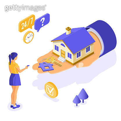 Mortgage house isometric concept