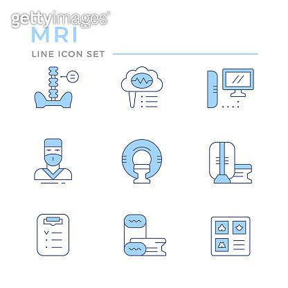 Blue line icon set